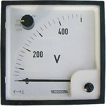 Weigel EQ 96 SWT 0 - 500 V/AC Control panel-moving armature ammeter with change over switch 0 - 500 V AC Assembly dimens