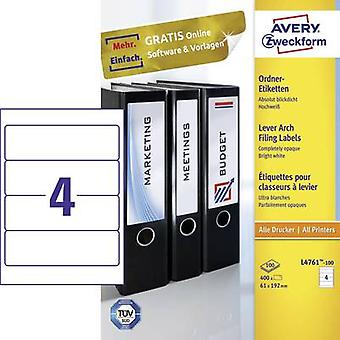Avery-Zweckform L4761-100 Labels (A4) 61 x 192 mm Paper
