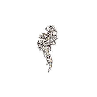 Brooch Crystal white Parrot and Rhodium plate