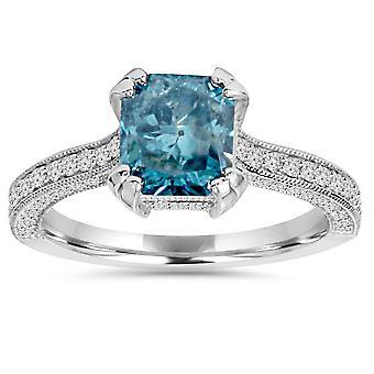 3ct blå & vit strålande diamant förlovningsring 14K vitguld