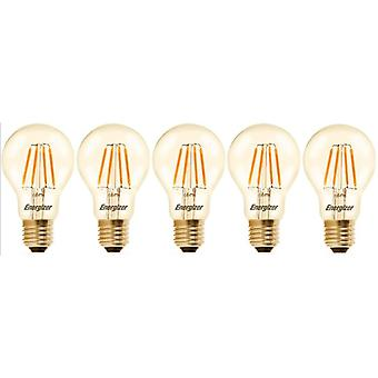 5 X Energizer GLS Globe Antique Gold Finish LED Filament Energy Saving Light Bulb E27 ES Edison Screw Fitting [Energy Class A+]