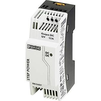 Phoenix Contact STEP-PS/1AC/12DC/1.5 Rail mounted PSU (DIN) 12 Vdc 1.65 A 18 W 1 x