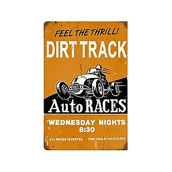 Dirt Track Auto Races Rusted Metal Sign 460Mm X 300Mm