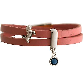 GEMSHINE pink leather wrap bracelet with Einhorn and blue Sapphire. Girls gift gold plated rose or silver. In a fine case. Made in Munich, Germany