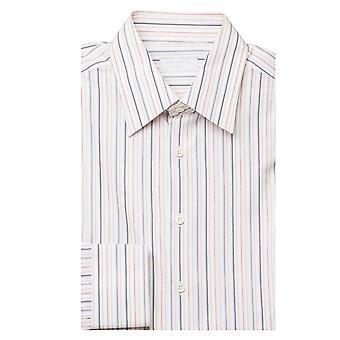 Prada Men's Semi-Spread Collar Pinstriped Cotton Dress Shirt White Multi