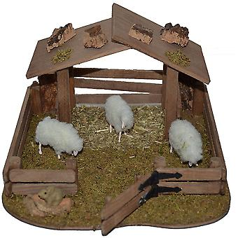 Nativity accessories stable Nativity set sheep enclosure animal enclosures with 3 sheep 1 Bunny shelter
