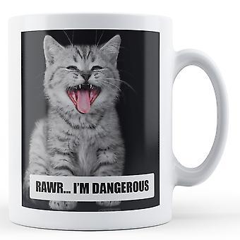 Grå søde kat Rawr jeg er farligt - trykt krus