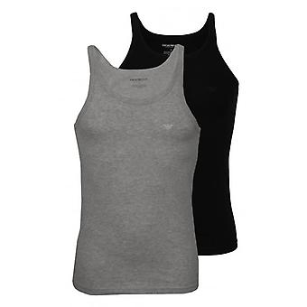 Emporio Armani 2er-Pack reiner Baumwolle Tanktop Unterhemden, schwarz/grau
