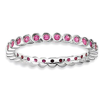 Sterling Silver Bezel Polished Patterned Rhodium-plated Stackable Expressions Created Ruby Ring - Ring Size: 5 to 10