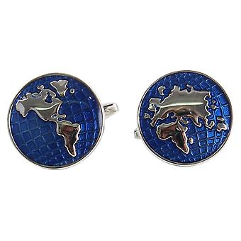 Zennor World Map Culffinks - Blue/Silver