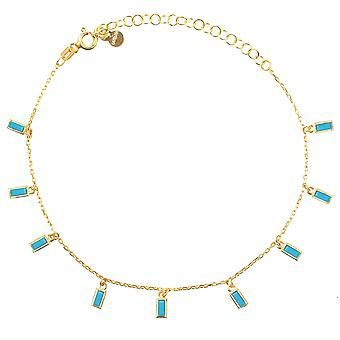 Turquoise blauw Baguette armband gouden ketting edelsteen Delicate CZ Bright charme
