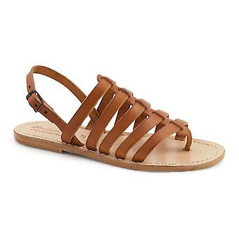 Tan flat sandals in real leather Handmade in Italy