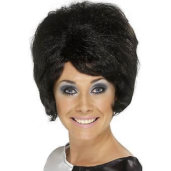 Smiffy's Short Black Beehive Wig, Sixties Beehive Wig, Swinging 60's