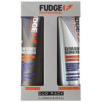 Fudge ren blonde skade Spol tilbake Violet toning shampoo & conditioner 2 X 250ml