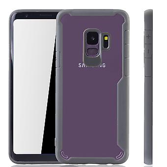 Premium Samsung Galaxy S9 hybrid edition cover grey | Supports Wireless charging | fine acrylic with soft silicone edge gray