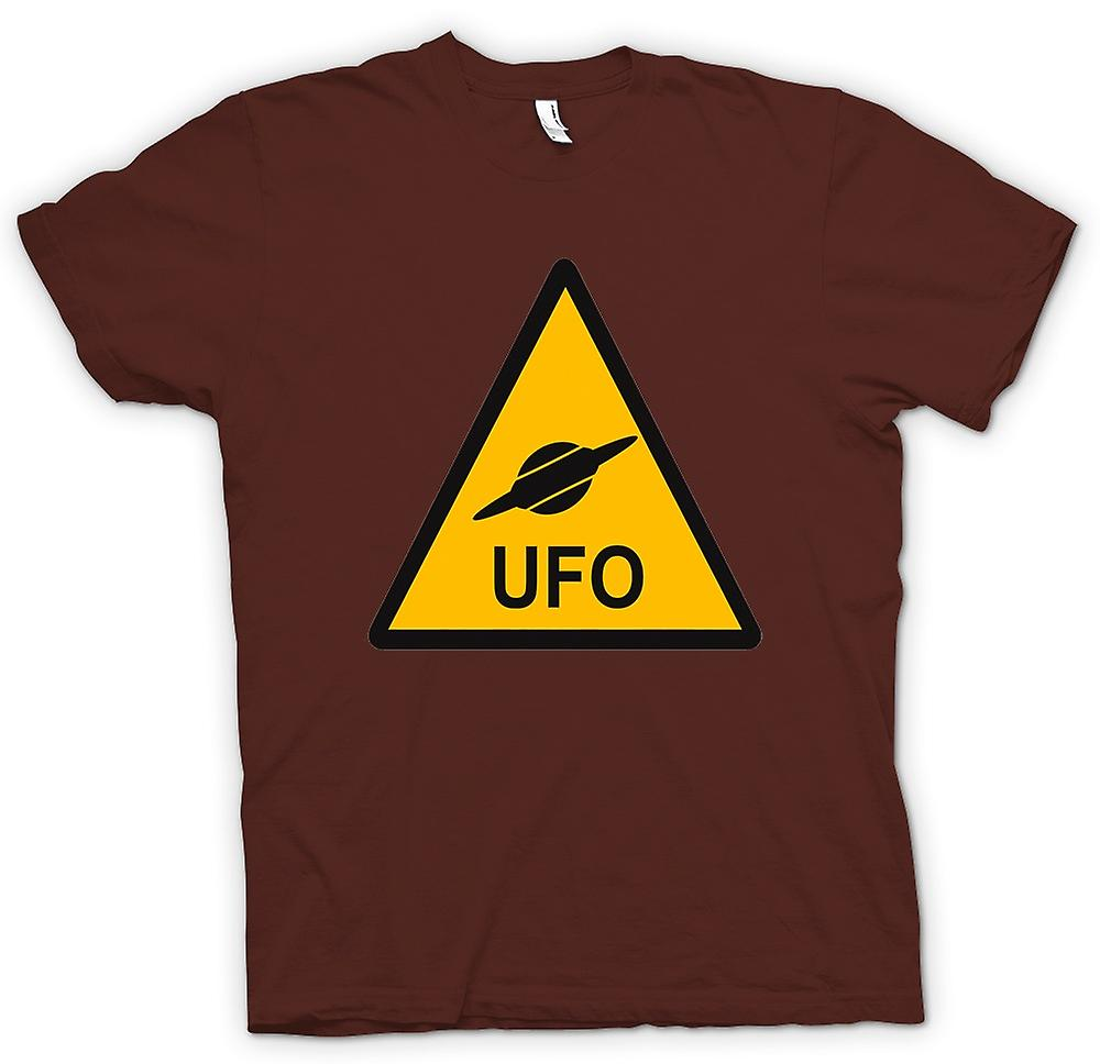 Mens T-shirt - UFO Warning Sign - Funny Kids