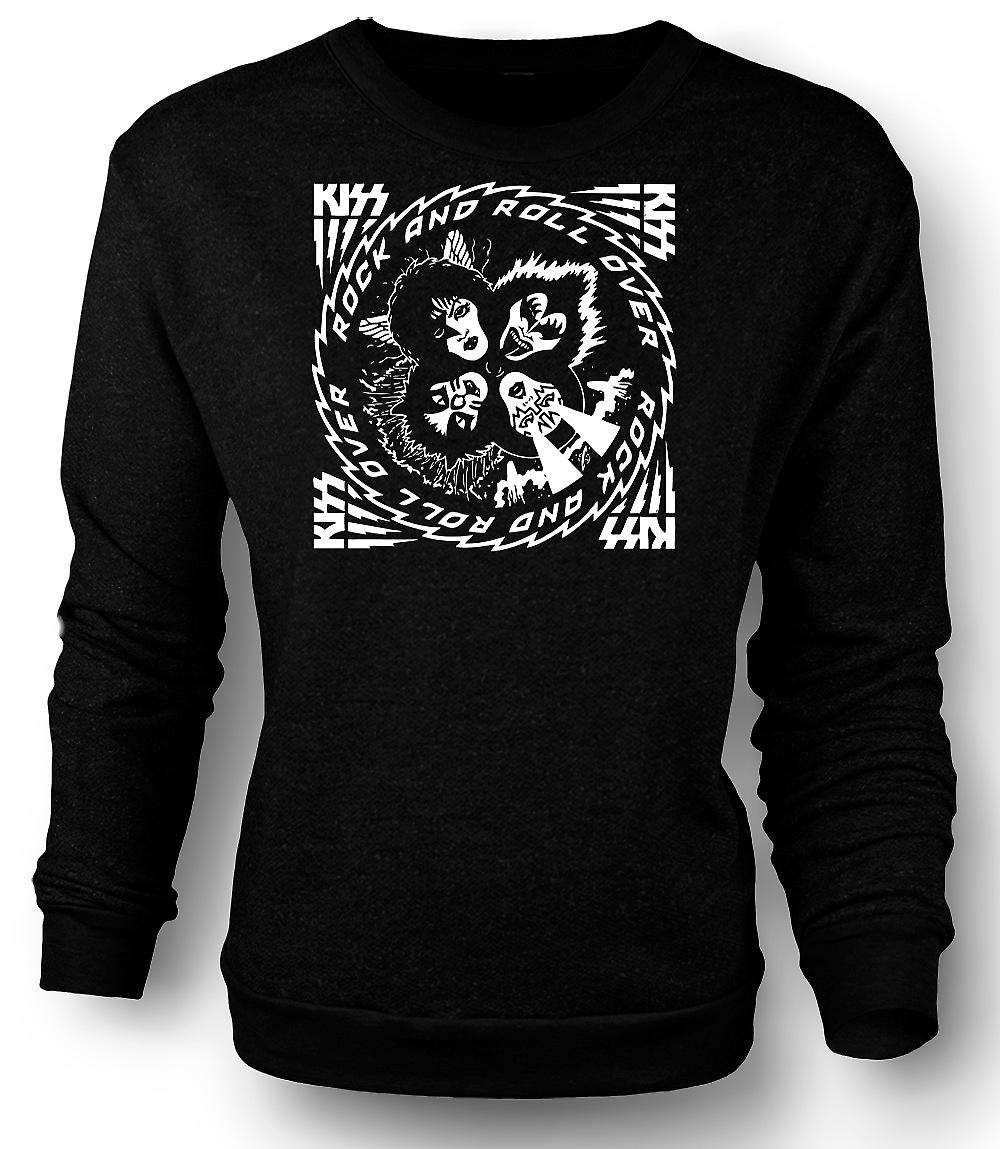 Mens Sweatshirt Kiss - Rock And Roll - Over Music