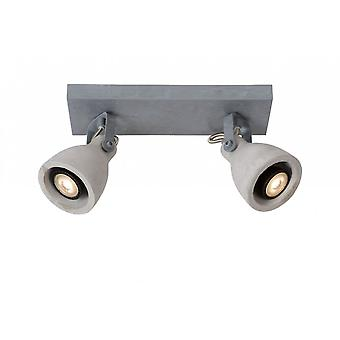 Lucide Concri-LED Industrial retangular Metal cinza Spot de luz de teto