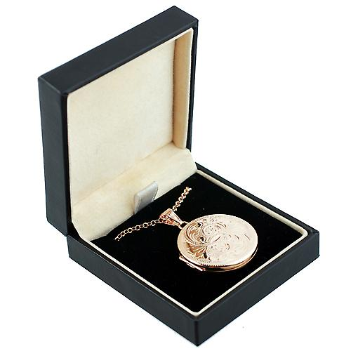9ct Rose Gold 29mm engraved flat round Locket with Belcher chain