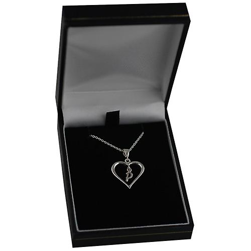 Silver 18x18mm initial P in a heart with Rolo chain