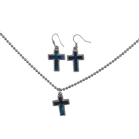Christmas Gift Jewelry Cross Pendant Mother of Shell cross Pendant W/ Silver Outlined Cross Pendant Necklace Set Affordable Under $10 Jewelry Set