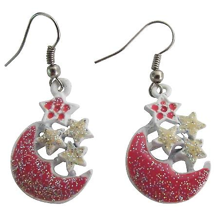 Fabulous Christmas Gift Glittering Stars & Moon Dangling Earrings