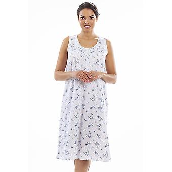 Camille Camille Womens Luxury Porcelain Floral SleeveLess Nightdress
