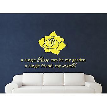 A Single Rose Wall Art autocollants - Soufre