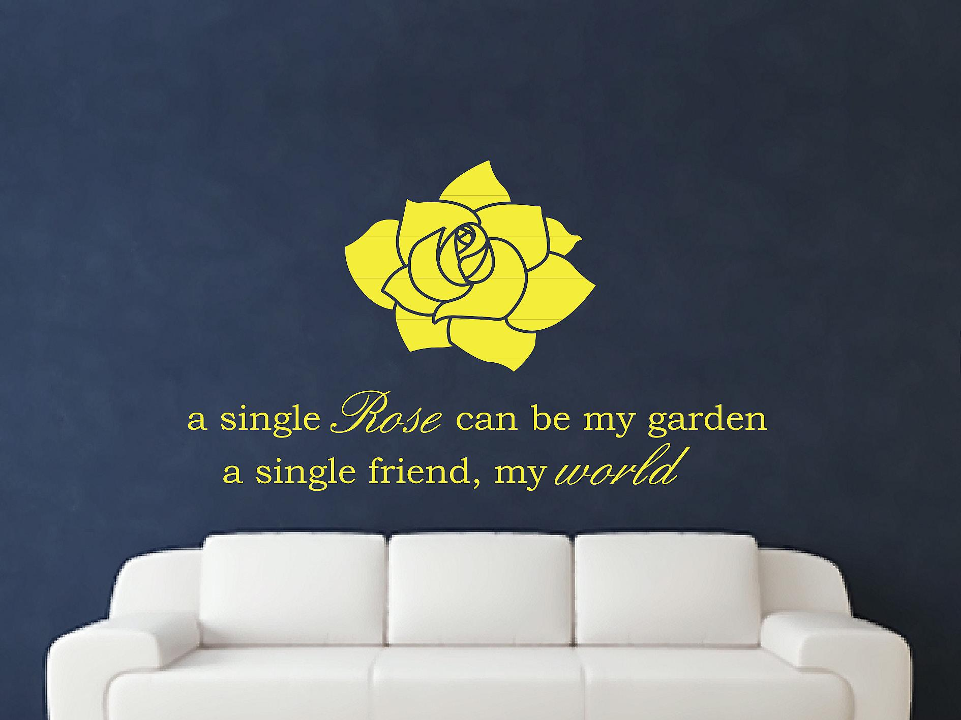 A Single Rose Wall Art autocollants - Soufre