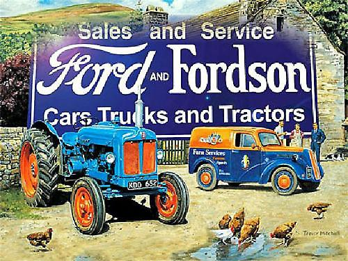 Fordson and Fordson (ls farmyard scene) metal sign 400mm x 300mm    (og)