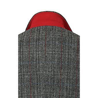 Harris Tweed para hombre gris con chaqueta de Tweed Overcheck rojo Regular Fit 100% lana muesca solapa