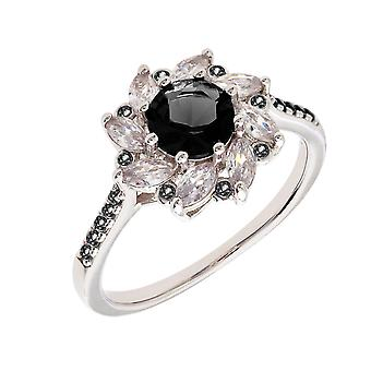 Bertha Juliet Collection Women's 18k WG Plated Black Flower Fashion Ring Size 6