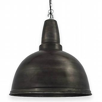 Retro Industrial Metal Pendant Light - Pewter - 17