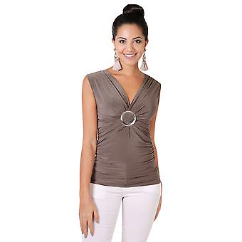 KRISP  Buckle Wrap Cross Over Stretch Jersey V Neck Top Tunic Blouse Party Summer