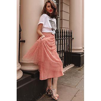 Little Mistress Ambrose Apricot Pearl Detail Midi Skirt