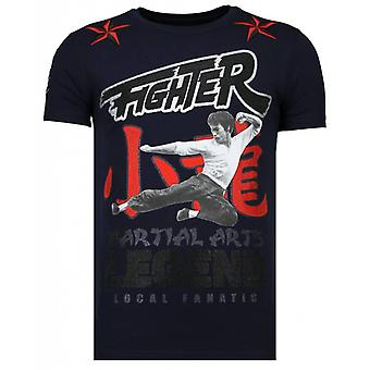 Fighter Legend-Rhinestone T-shirt-Navy