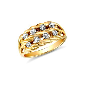 Jewelco London Solid 9ct Yellow Gold Illusion Set Round H I1 0.08ct Diamond Rope Keeper Cluster Ring 9mm