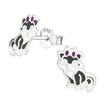 Cat - 925 Sterling Silver Colourful Ear Studs - W21097X