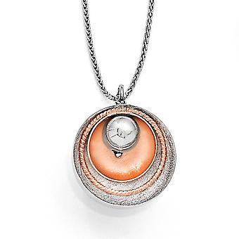 925 Sterling Silver Textured Rhodium plaqué Rose Gold-Flashed Polished Pendant - 4.9 Grammes