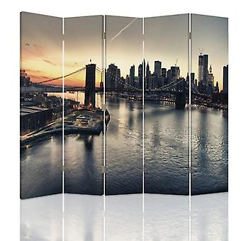 Room Divider, 5 Panels, Double-Sided, 360 ° Rotatable, Canvas, Brooklyn Bridge In New York City
