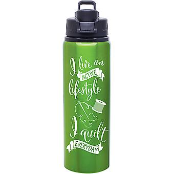 Quilt Happy Lifestyle Water Bottle 28oz-Apple Green QH395-GR