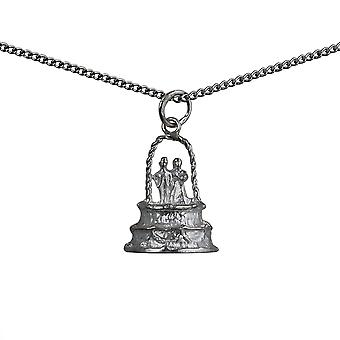 Silver 19x15mm Wedding Cake Pendant with a curb Chain 18 inches
