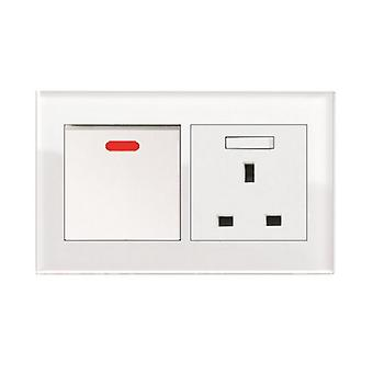 I LumoS AS Luxury White Crystal Glass Double 45A Switch with Switched  13A UK Socket