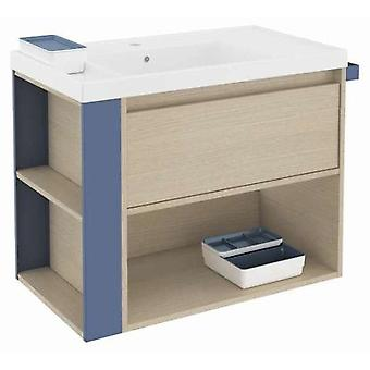 Bath+ 1 Drawer Cabinet + Shelf With Resin Oak Basin-Blue 80CM