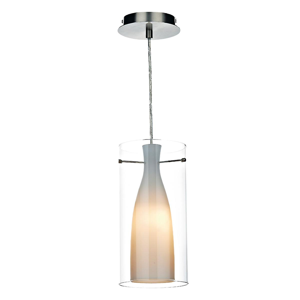 Dar BOD8646 Boda Modern Chrome Single Light Ceiling Pendant With Double Glass