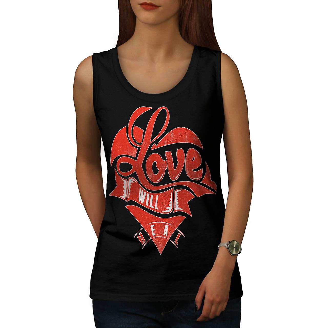 Love Will Heal Life Broken Heart Women Black Tank Top | Wellcoda