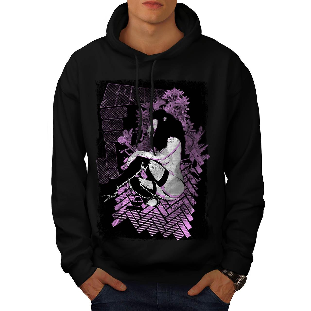 Tease Queen Lion Mask Wild Girl Men Black Hoodie | Wellcoda