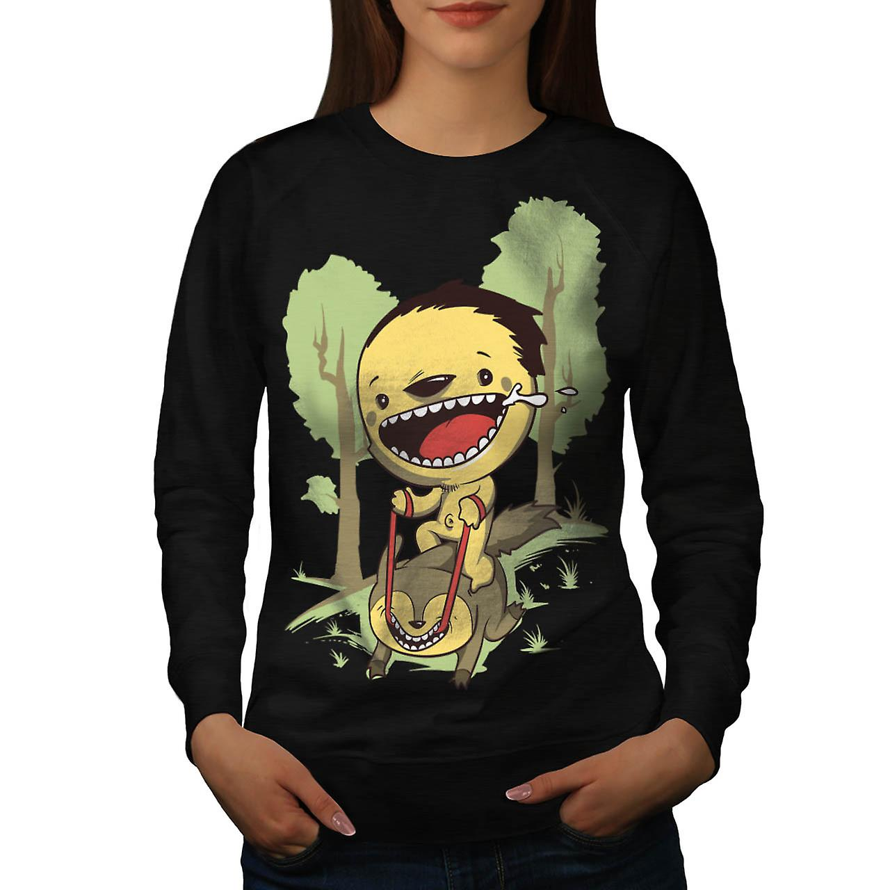 Cartoon Cute Forest Funny Women Black Sweatshirt | Wellcoda
