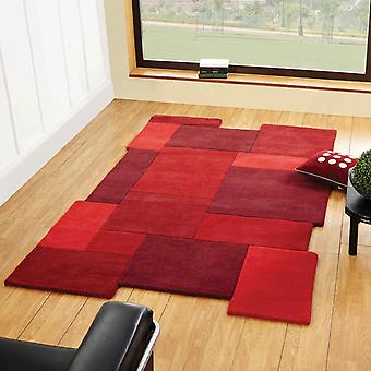 Abstract Collage Rugs In Red