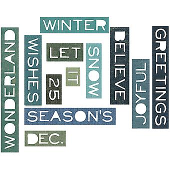 Sizzix Thinlits Dies 12/Pkg By Tim Holtz-Holiday Words 661600